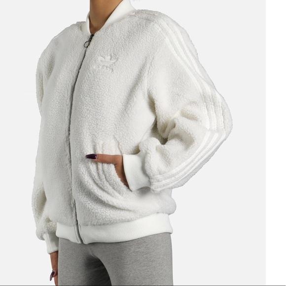 adidas fleece bomber jacket
